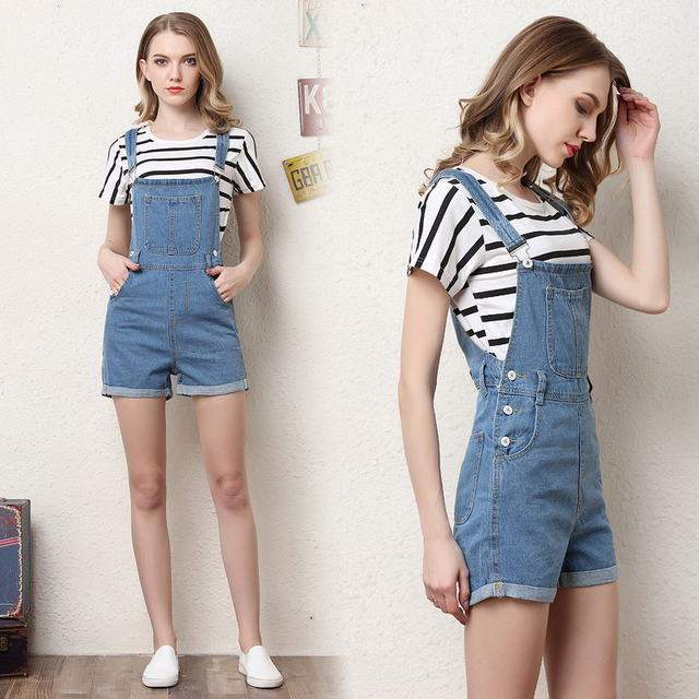 21e2166ed338 Short denim overalls women jumpsuit romper high waist casual fashion jeans  playsuit washed blue dungarees 2018