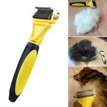 Double Side Pet Fur Dog Brush Cat Grooming Deshedding Trimmer Tool Dog Comb Pet Brush Rake 12/23 Blades 12 side brush