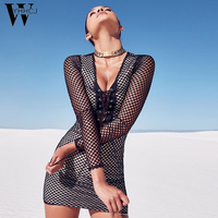 WYHHCJ 2018 Summer Black Double Mesh Lacp Up Dress Women Deep V Neck Long Sleeve Sexy