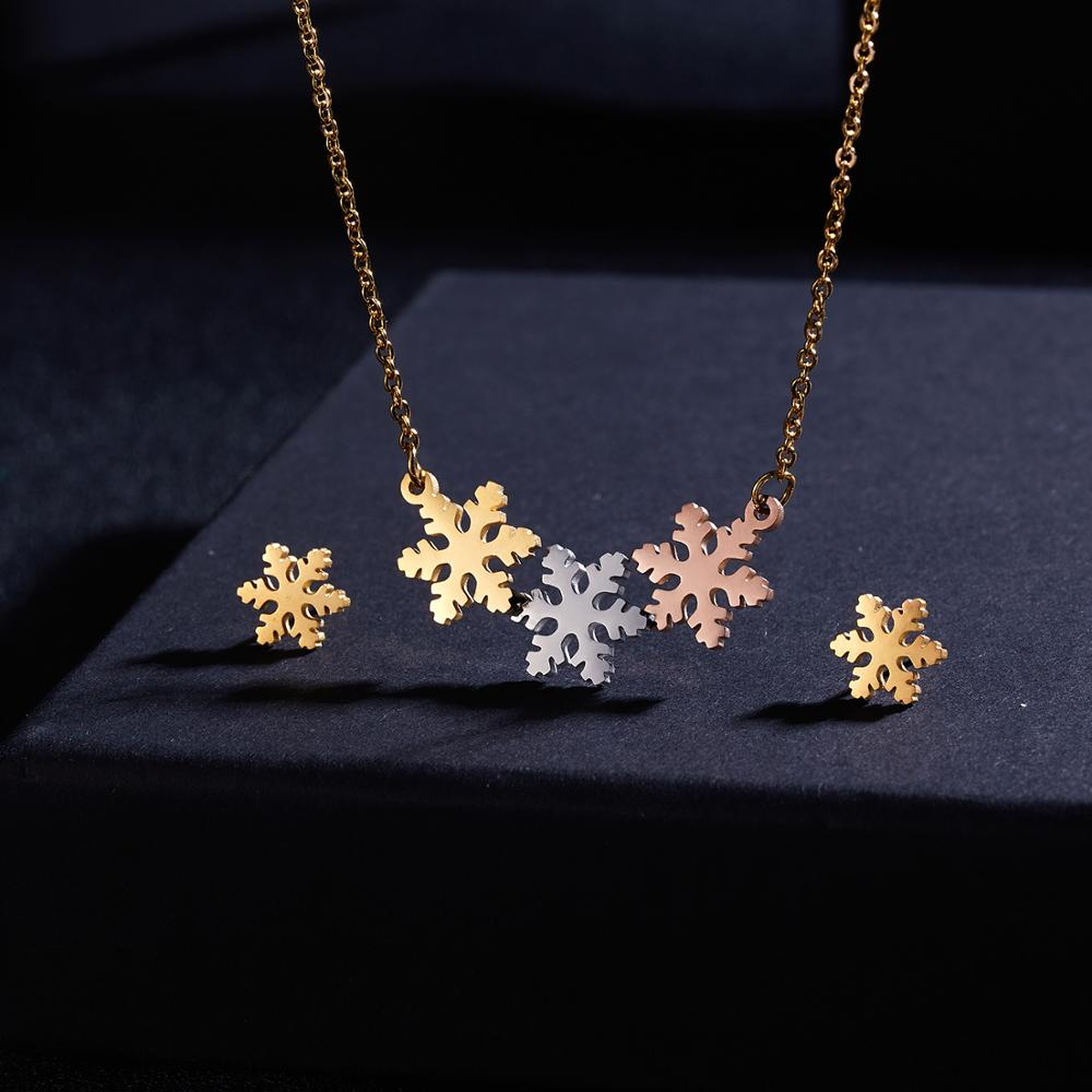 Stainless Steel Jewelry Sets Elegant Tri-Color Butterfly Hollow Stainless Steel Necklace Earrings Set Lover's Engagement Jewelry