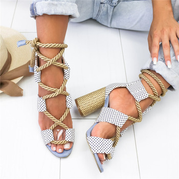 Women Sandals Lace Up Summer Shoes Woman Heels Sandals Pointed Fish Mouth Gladiator Sandals Woman Pumps Hemp Rope High Heels 4