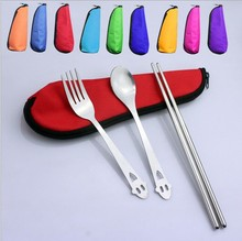 1SET Stainless Steel Three-piece Sets Chopsticks Fork Spoon Dinnerware Set with Mini Bag for Outdoor Travel Flatware Set KV 089