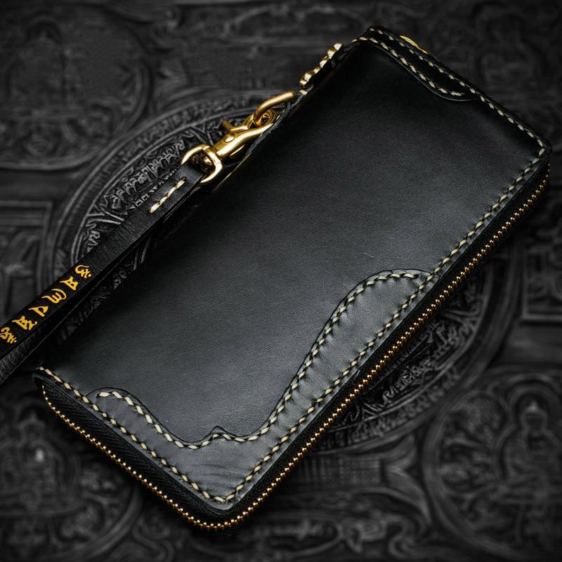Famous designer handmade high-end men Genuine leather wallet women luxury brand calfskin engraved vintage clutch purse