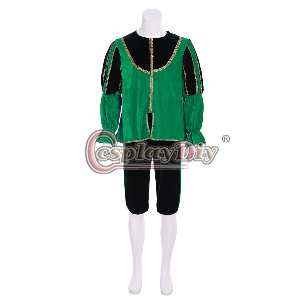 Cosplaydiy Medieval Tudor Isabelino Verde Costume Outfit