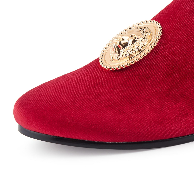 Terciopelo Lion Harpelunde 6 14 Tamaño Vestir verde Rojo Zapatos De azul Mano Zapatillas Hebilla Mocasín Negro rojo Hombres Con 06r0xX