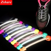 1 Pair Reflective Shoelaces No Tie Shoe Laces Elastic Stretching Lock Shoelace Kids Adult Sneaker Unisex Strings