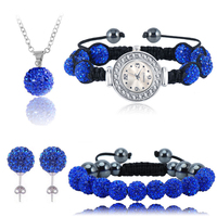 Shamballa Set Crystal Watch Necklace Pendant Earring Bracelet Sets 10mm AB Clay Disco Ball Beads Set