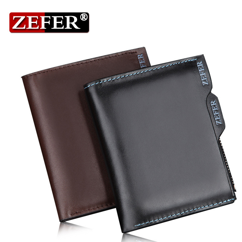 100% Genuine Leather men wallets with coin zipper pocket Famous Brand designer fashion short wallet Safe Cowhide male purses