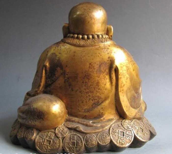 """SCY Gang 12""""Chinese Buddhism Copper Bronze Lucky Happy coin Money Maitreya Buddha statue (C0318)"""