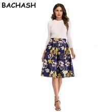Bachash/юбки с цветочным принтом Фламинго; Летняя женская винтажная юбка с высокой талией; коллекция года; элегантная повседневная юбка трапециевидной формы до колена в стиле ретро