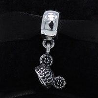 ROCKART S925 Sterling Silver Cartoon Mouse Ear Hat Dangles Fit European Bracelet Cute Pendant Gift Fine
