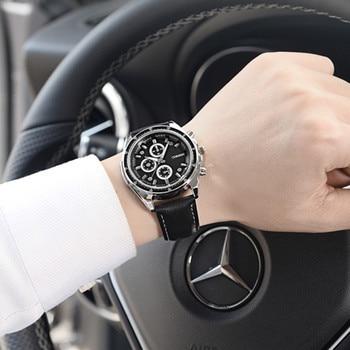 e98ffec6c92f Oukeshi hombres originales hombres reloj de cuarzo Cuero auténtico negocio relojes  hombre reloj cronógrafo militar reloj deportivo reloj hombre