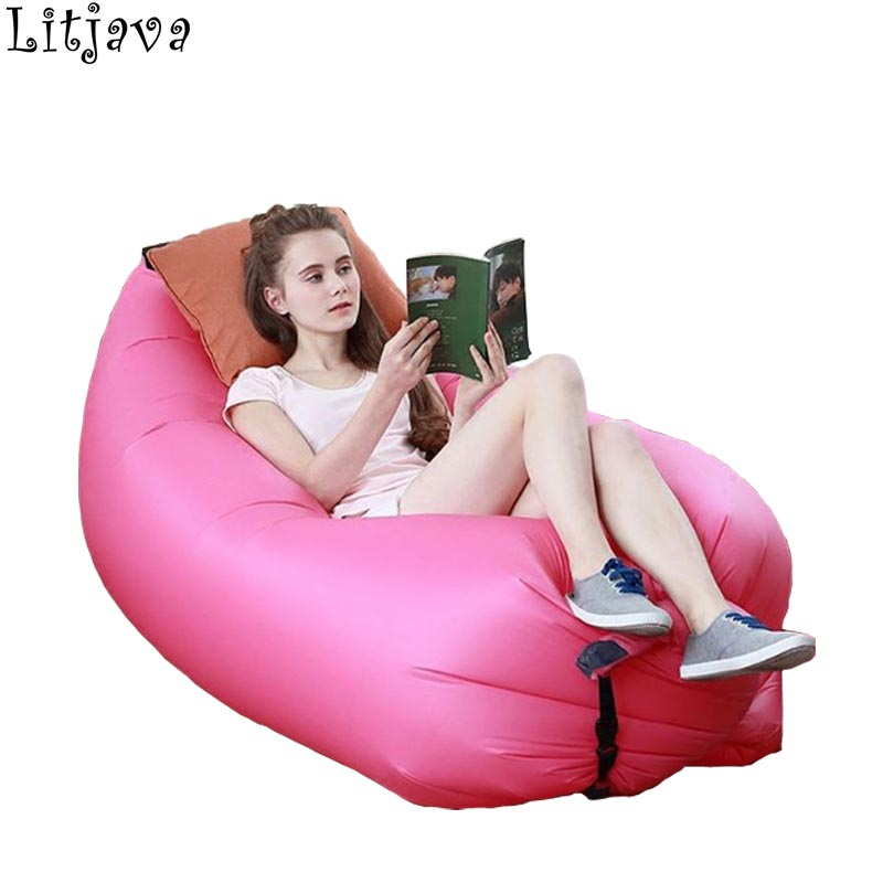 Accept Dropshipping Inflatable Bean Bag Chair For Kids Adult Lazy Air Sleeping Bed Outdoor Banana Lazy Pouf Cushion For Beach
