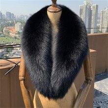Зима, черный воротник из натурального Лисьего меха, женский шарф из натурального Лисьего меха, шаль, воротники, теплые меховые шарфы для женщин
