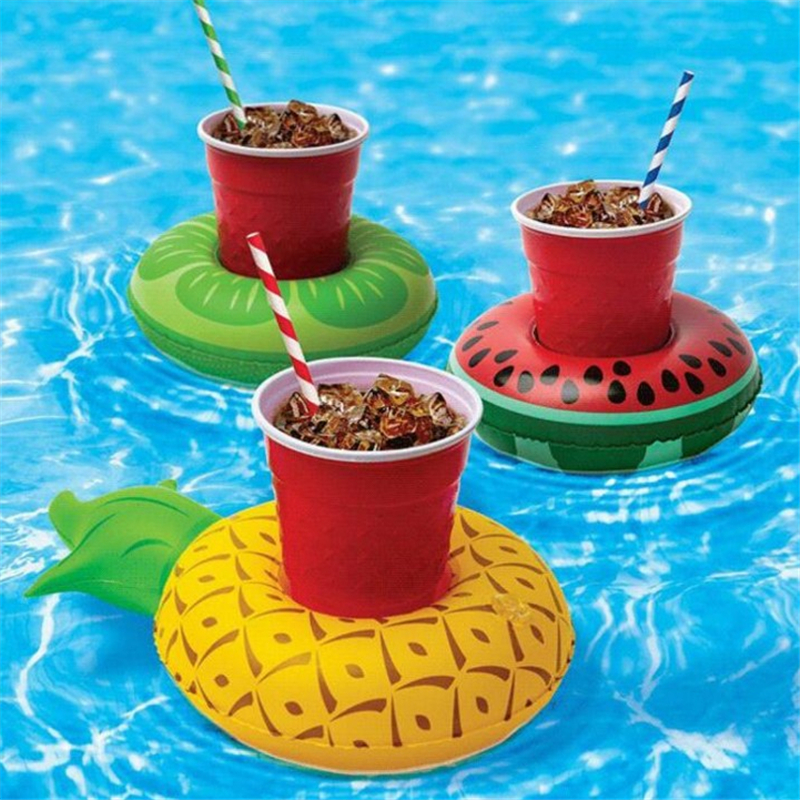 2 Pcs Inflatable Flamingos Doughnut rainbow watermelon Floating water cup holder Swimming Pool Beach Summer Pool Party supplies