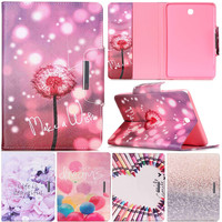 Neo Cute Cartoon Dandelion Flower Pen Stand Leather Smart Fundas Case For Samsung Galaxy Tab A