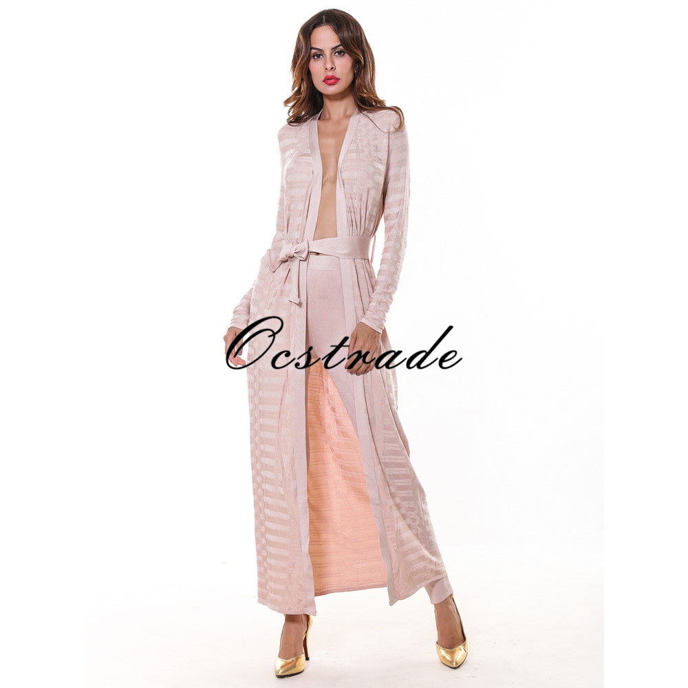 Free Shipping 2016 Spring New Fashion Womens Trousers High Quality 2 Piece Pencil Nude Rayon Bandage