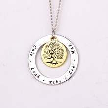 Family Tree Necklace AliExpress Best Selling Handmade Long Jewelry Custom Made Any Name YP2751