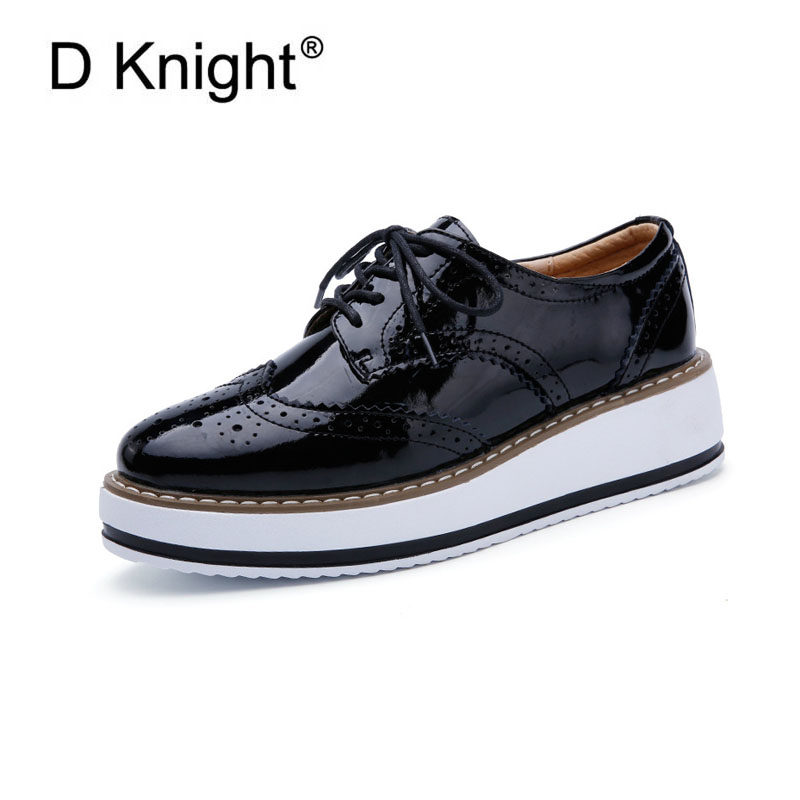 New Women's Casual Platform Oxford Shoes Vintage Patent Leather Women Oxfords Fashion Round Toe Lace Up Women Flats Size 34-41 new fashion round toe brogue oxford shoes for women lace up women oxfords ladies casual flats