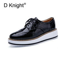 цены New Women's Casual Platform Oxford Shoes Vintage Patent Leather Women Oxfords Fashion Round Toe Lace Up Women Flats Size 34-41