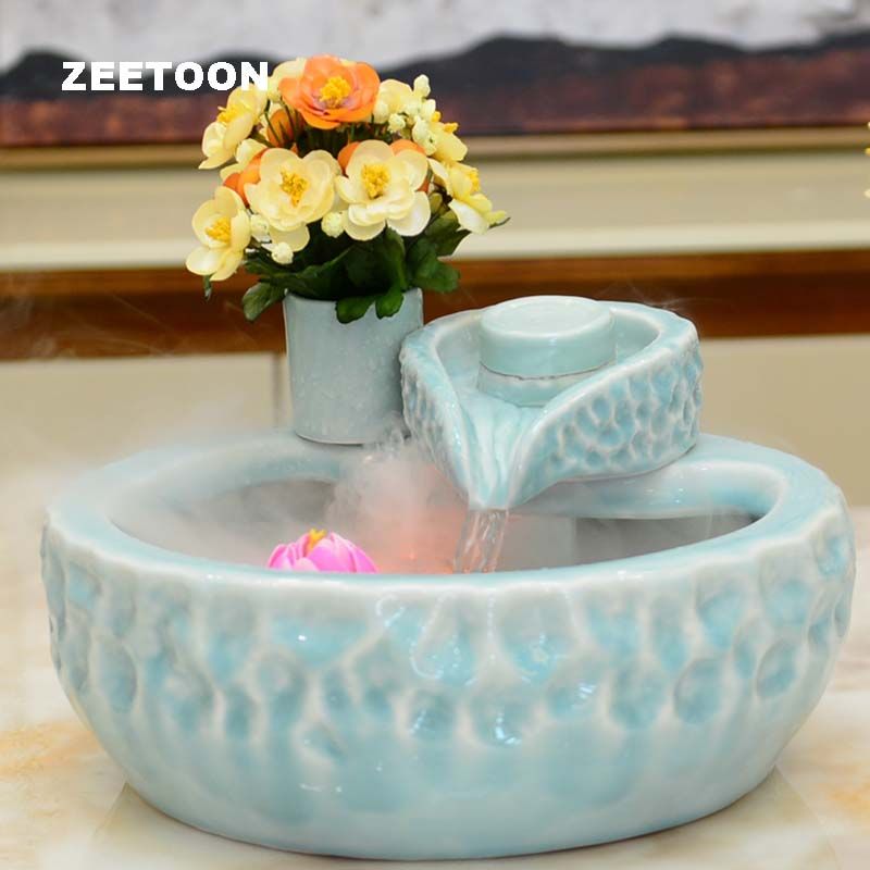 LED Mini Water Fountain Ceramics Stone Mill Figurines Air Humidifier Tabletop Fish Tank Feng Shui Creative Home Decor Atomizer