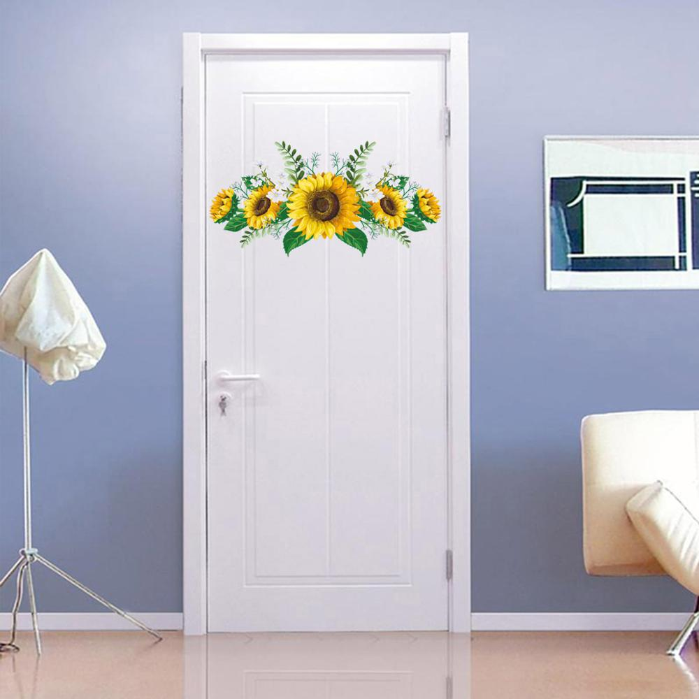 KM277 new flowers sunflower personality wall stick living room bedroom cabinet door wall stickers manufacturers wholesale in Wall Stickers from Home Garden