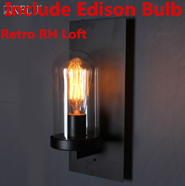 Creative American Industrial Wall Lamp Edison Vintage Sconce Balcony Bedside Light LOFT Glass Modern Lighting E27 Bulb New Year led outdoor wall sconce wall mounted lamp garden porch light bedside lamp balcony sconce aisle light vintage wall sconces