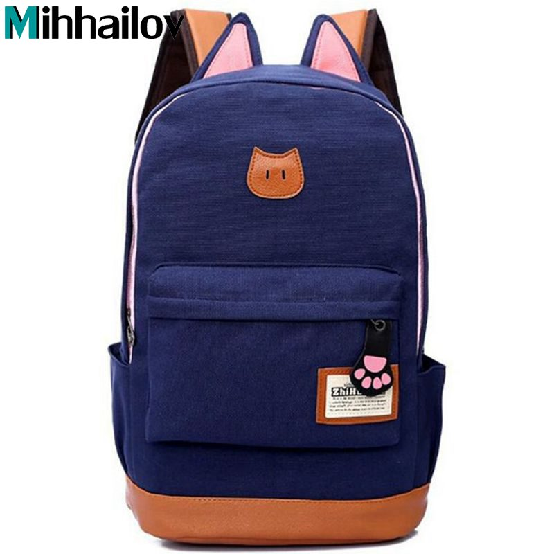 2017 New Women Cartoon Cat Ear Shoulder Bag Backpack Schoolbag Men Canvas Backpacks Travel Bags for