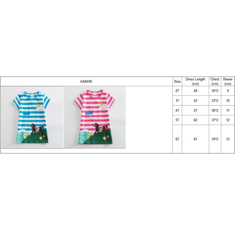 Girls short Sleeve Cotton Unicorn Dresses Kids Clothes Embroidered Spring Girl Kids Clothes Kids Dresses for Girls AS6499 6