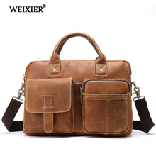 WEIXIER Fashion Genuine Leather Mens Casual Business Travel Handbag Classic Design Brand Large Capacity Multi-Pocket