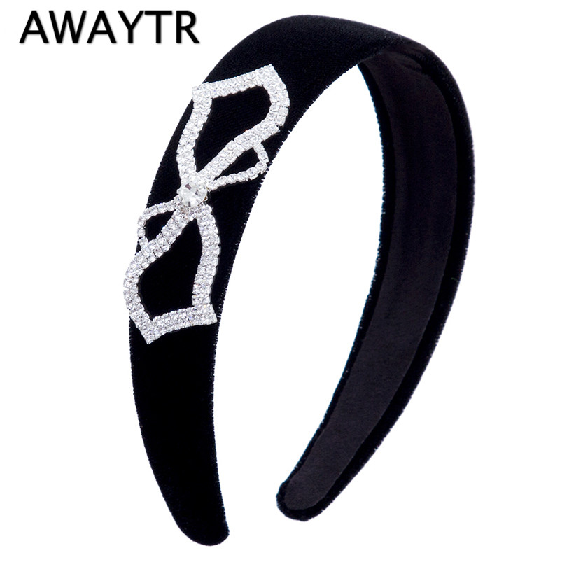2017 Women Wide Headband Hair Accessories Heart Shaped Bow Flannel Head Band Girls Headdress Hoop Black Hairbands for Women  delta dl 0715 silver black