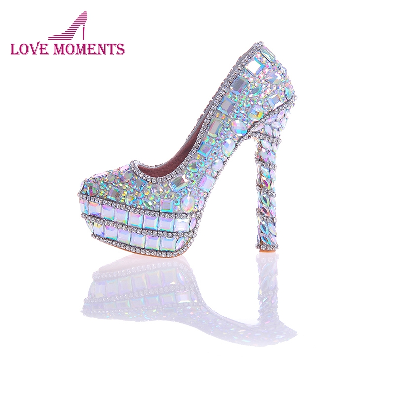 2018 Newest Designer AB Crystal Bridal Wedding Shoes Seven Kinds Of High Heels Gorgeous Rhinestone Party