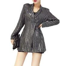 7a1bd5e3f2026 Весеннее блестящее Женское пальто ручной работы с блестками, модная офисная Женская  куртка с длинным рукавом