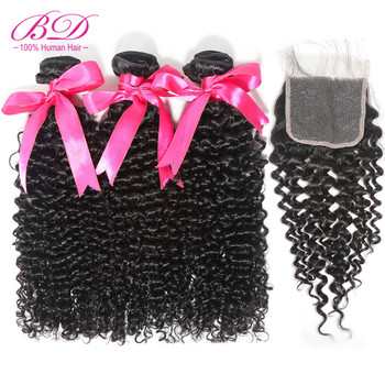 Peruvian Curly Weave Human Hair Bundles with Lace Closure 4pcs/lot Remy Hair Extensions Natural Color Free Shipping BD HAIR