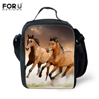 Hot Sale Insulated Lunch Bags Thermal Lunchbox 3D Animals Dog Crazy Horse Printed Lunch Bags For