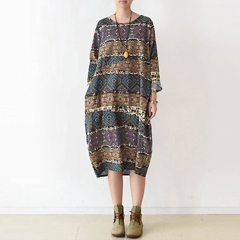 Vestidos 2018 Spring Autumn Casual Loose Cotton Dress Maternity Clothes Long Sleeved O Neck Retro Mid-calf Print Pregnant Wear