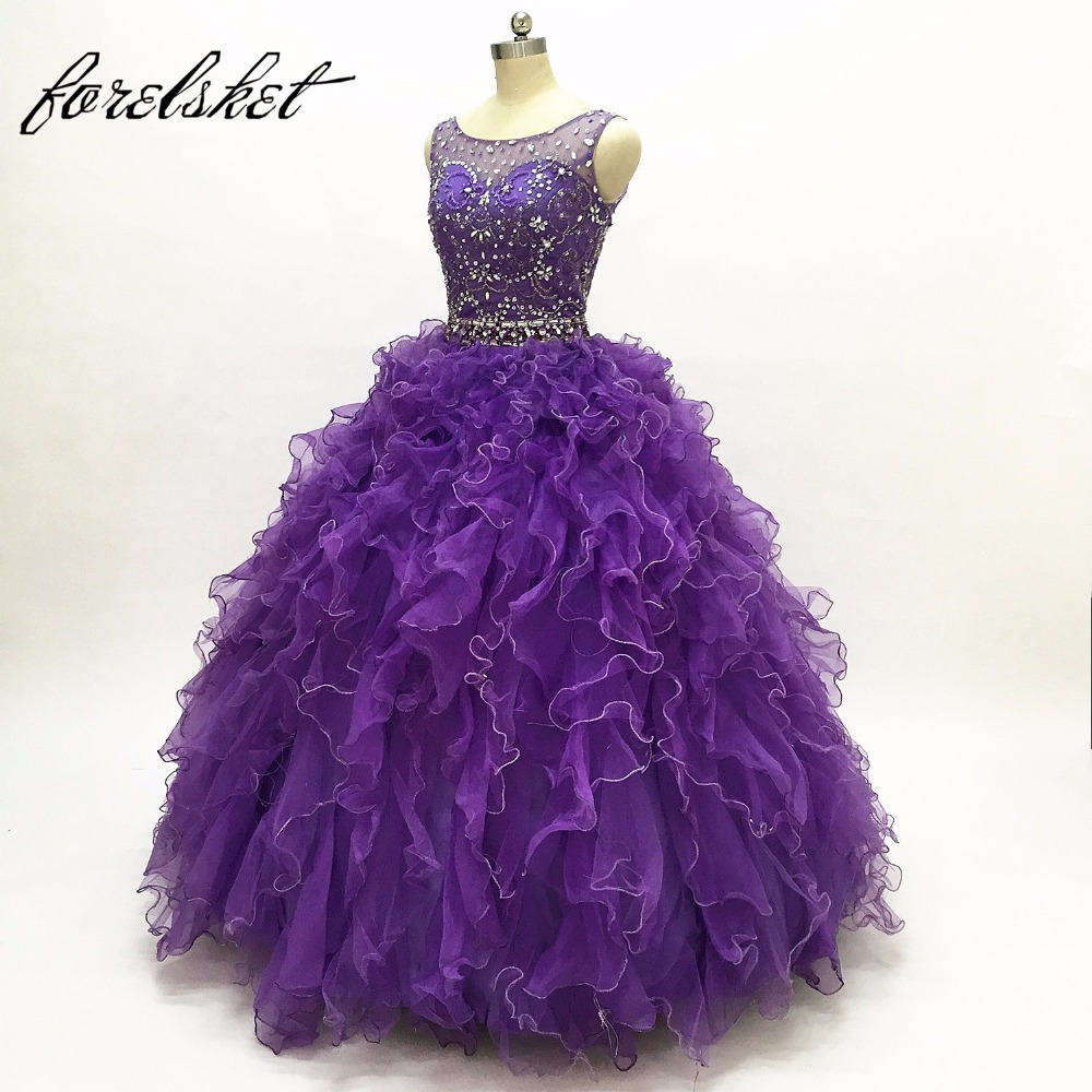 Ball Gown Ruffles Princess Tulle Prom <font><b>Dresses</b></font> Long 2020 Beading Crystal Purple Sequined Evening Party Gowns <font><b>for</b></font> <font><b>15</b></font> <font><b>Year</b></font> <font><b>Old</b></font> <font><b>Girl</b></font> image