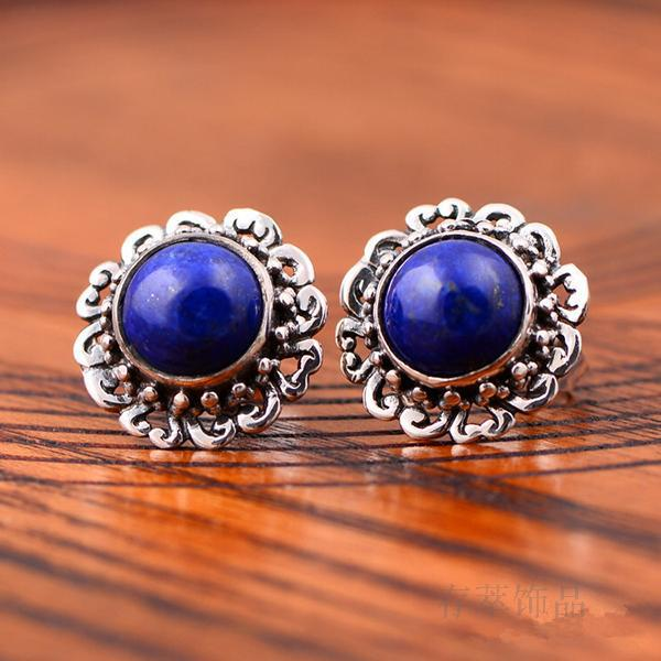 S925 sterling silver hand-inlaid natural lapis lazuli earrings retro flower personality fashion earrings wild female s925 pure silver personality female models new beeswax