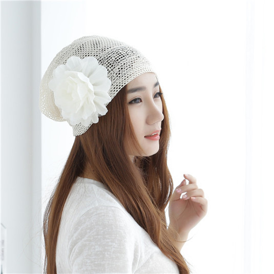 Explosive cap female spring summer jacket cap double confinement cap pile big flower baotou hat