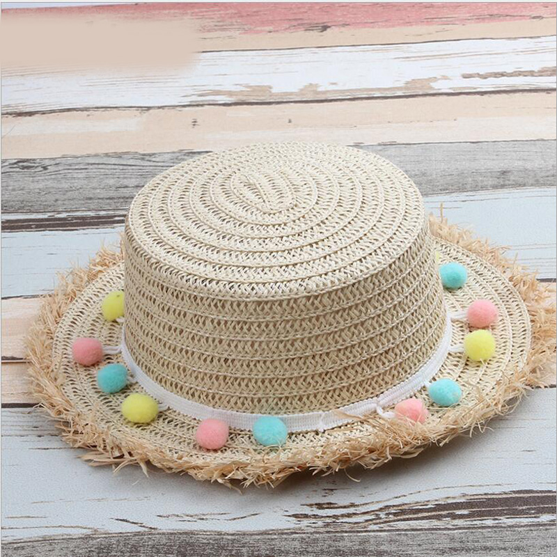 Girl's Hats Cute Kids Summer Crochet Straw Beach Sun Hat With Flowers Girl's Accessories