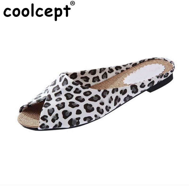 Coolcept New Arrival Women Sandals Casual Fashion Sexy Summer Slippers Peep-toe flats Slip-on leisure Female shoes Size 35-40  poadisfoo 2017 new summer style slip on women sandals flats for women black white color slippers shoes women hykl 1603