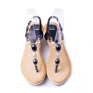 Image 3 - BEYARNE summer new sweet slope with female high heeled sandals women Bohemian diamond students shoes flip flops