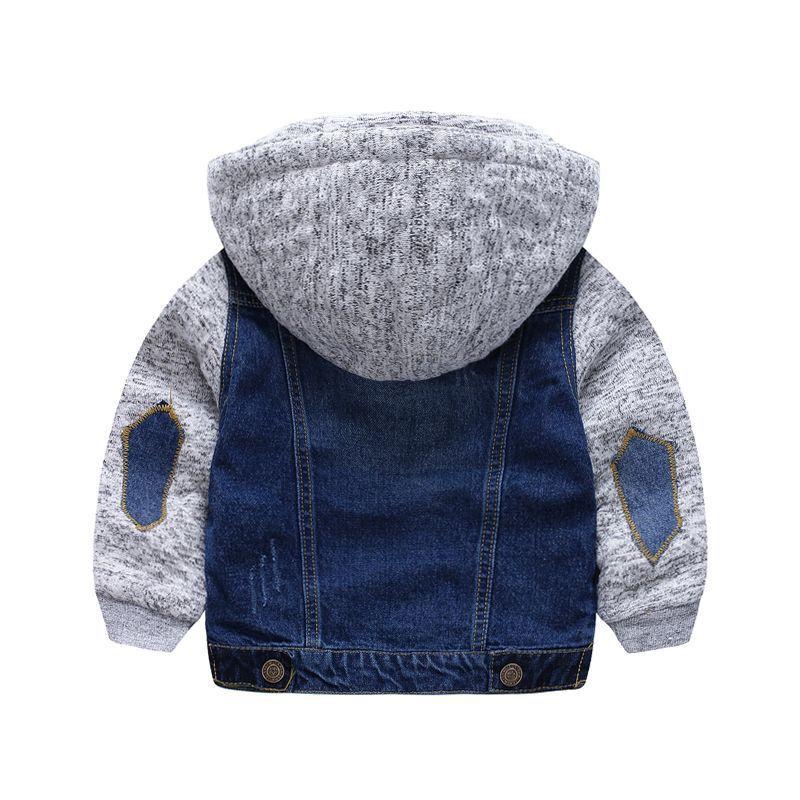 Детская куртка для мальчиков возрастом от 2 до 8 лет верхняя одежда пальто для мальчика детская джинсовая куртка с капюшоном осенняя толстов...