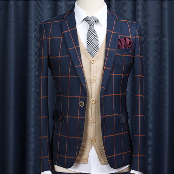 Spring/Autumn Fashion Brand Male Tartan Suit Jacket Blazers Men ...