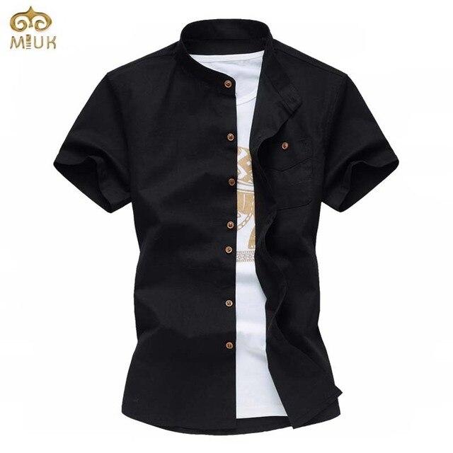 Super grande de linho do tamanho 6xl 5xl branco preto manga curta mandarim collar chemise homme camisa masculina marca clothing camisa 2017