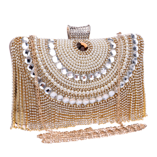 Beaded women evening bags tassel rhinestones metal day clutches evening bag diamonds shell design small purse evening bag