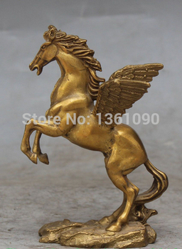 """xd 00540 7"""" Chinese Bronze Carved Fengshui Flying Successful Running Horse Animal Statue"""