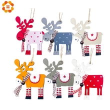 1PC Christmas Cartoon Wooden Deer Pendants Ornament Colorful Wood Crafts Xmas Tree For Home Party Decoration