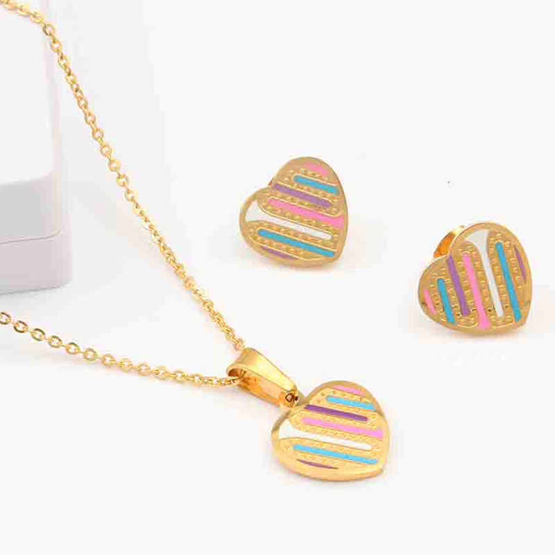 XUANHUA Multicolor Stainless Steel Jewelry Woman Heart Jewelry Sets Gifts For Women Fashion Indian Wedding Women Accessories