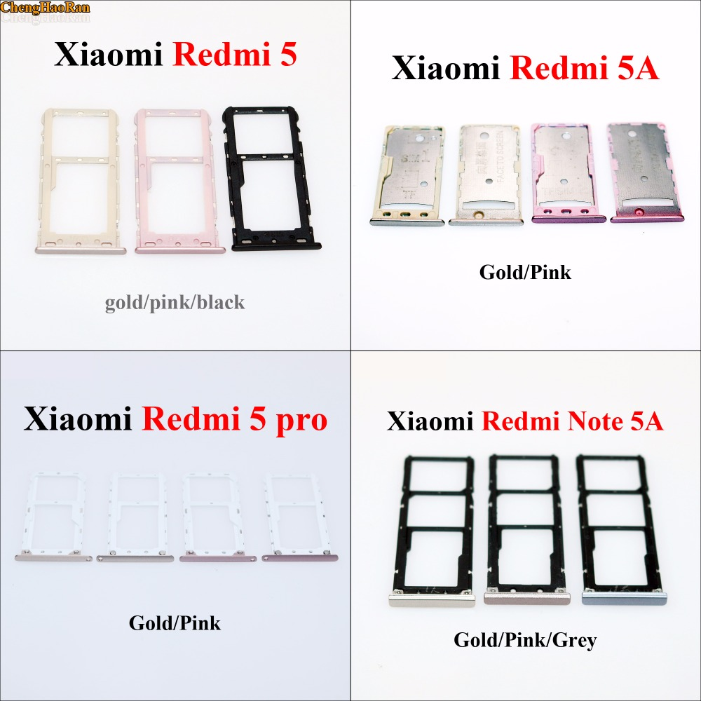 New SIM Card Tray Socket Slot Holder Adapters Replacement Spare Parts For Xiaomi Redmi 5 Note 5A 5 Pro 5 Plus Sim Cards Adapters